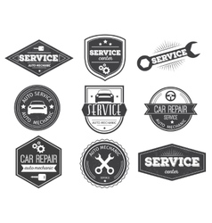 Auto Service Black White Emblems vector image