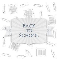 Back to School paper Badge with greeting Ribbon vector