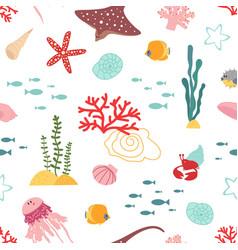 basea pattern marine life seaweed cute vector image