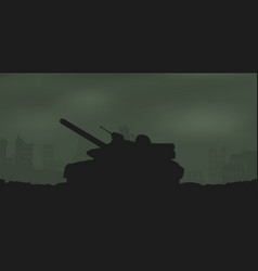 battle tank and destroyed houses vector image
