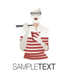 beautiful girl with glasses wearing striped vector image