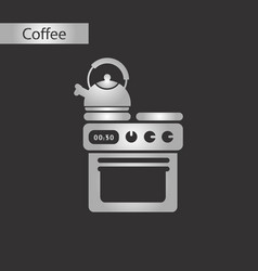 black and white style icon of coffee kettle stove vector image
