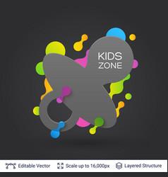 Black badge kids zone sticker vector