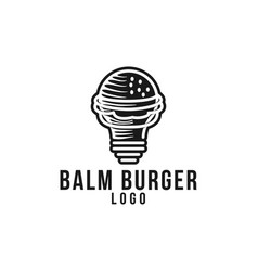 bulb and burger fast food idea logo designs vector image