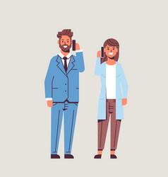 businesspeople couple using smartphones business vector image