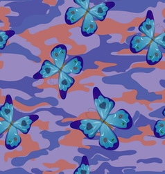 butterfly on blue military background pattern vector image