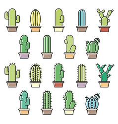 Cactus icons set vector