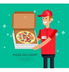 Cartoon pizza delivery guy vector