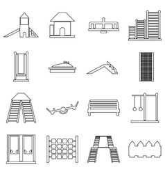 Children playground icons set outline style vector