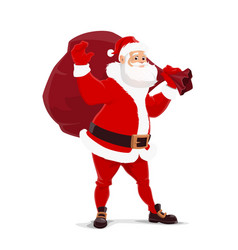 christmas santa claus with bag of gifts vector image