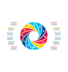 Circle element for infographic with 12 options vector