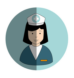 Circular frame with female nurse vector