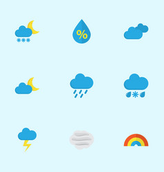 Climate flat icons set collection of shower vector