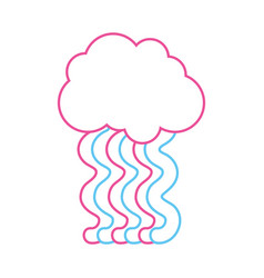 color line cloud with bright rainbow with sky vector image
