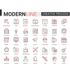 Creative work process red black outline line icons vector