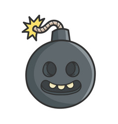 Creepy smiling cartoon bomb with burning wick vector
