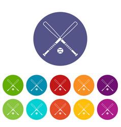 Crossed baseball bats and ball set icons vector