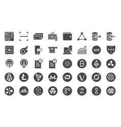 cryptocurrency trading icon set vector image