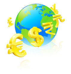 Currencies signs globe concept vector