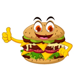 Cute cartoon burger thumb up vector