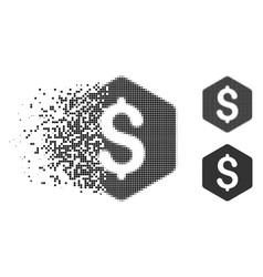 Decomposed pixel halftone dollar hexagon icon vector