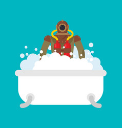 diver in bath retro underwater diver in bathroom vector image