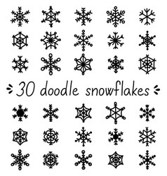 Doodle snowflakes set of isolated handdrawn snow vector