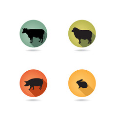 Farm animals set silhouette livestock icons vector