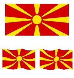 Flat and Waving Flag of Republic of Macedonia vector