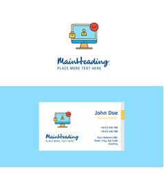 flat avatar on monitor logo and visiting card vector image