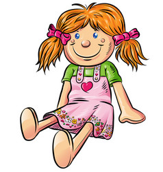 fun doll cartoon vector image