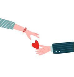 gift heart on valentines day male hand holding vector image