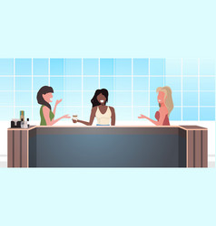 girls discussing during meeting mix race women vector image