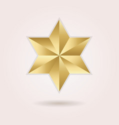golden abstract 3d six pointed star icon on pink vector image