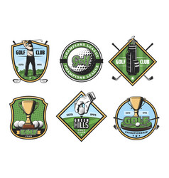 golf game icons with sport items and player or cup vector image
