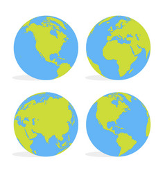 green and blue cartoon world map globe set vector image