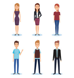 group of young people poses and styles vector image