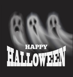 happy halloween poster with apparitions vector image