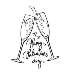 happy valentines day handwritten calligraphic text vector image