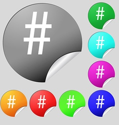 hash tag icon Set of eight multi colored round vector image