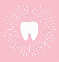 healthy tooth icon round line circle flat design vector image