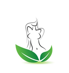 healthy woman and environmental leafs vector image