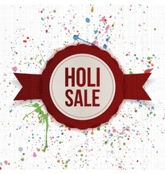 Holi Sale circle paper Banner with Ribbon vector