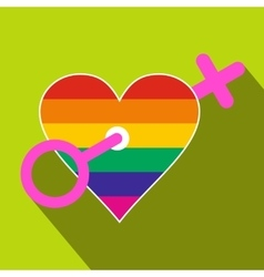 Homosexual love women flat icon vector