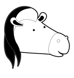 Horse cartoon head in black silhouette with thick vector