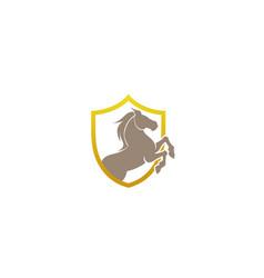 horse shield logo symbol design vector image