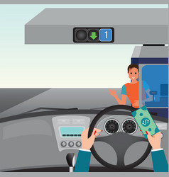 Human hands driving a car and showing car paying vector
