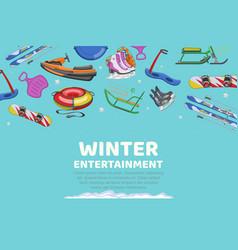 inscription winter entertainment collection items vector image