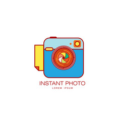 instant photo camera lens icon isolated vector image