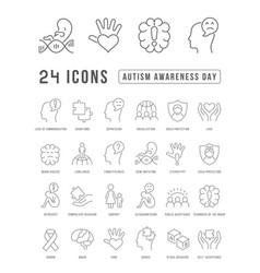 Line icons autism awareness day vector